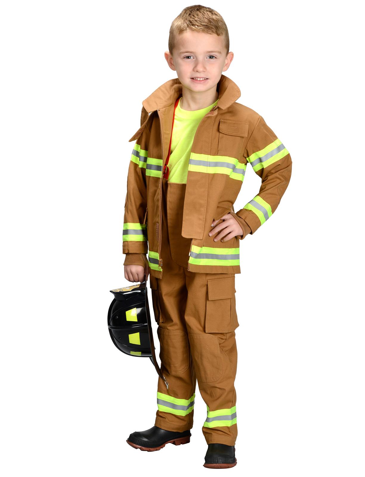Fireman Child Accessory Kit Jr Fire Fighter Suit Tan Child Costume Bc