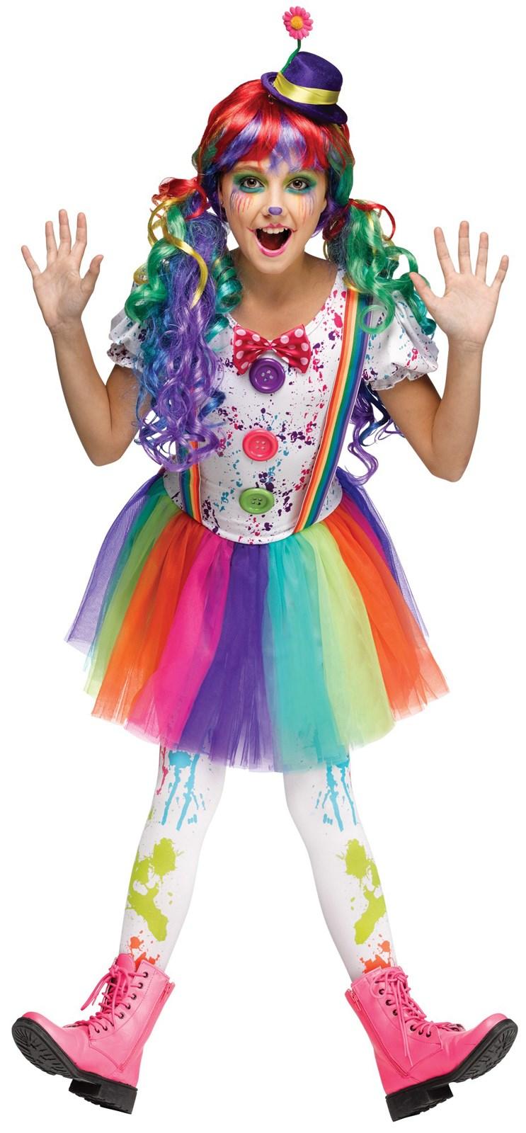 Kids Crazy Color Clown Costume