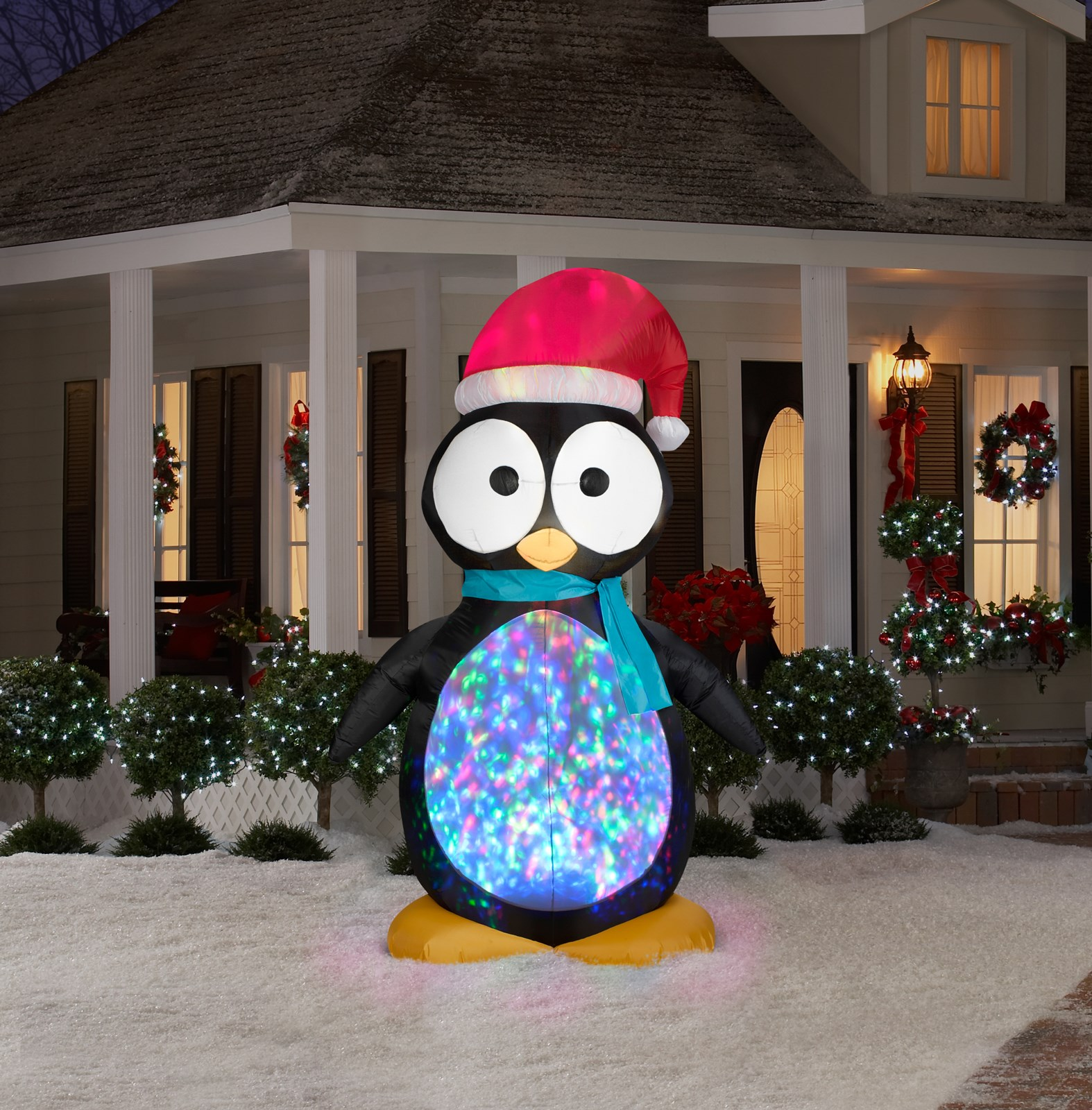 Large Penguin with Kaleidoscope Lights Airblown Yard Decoration