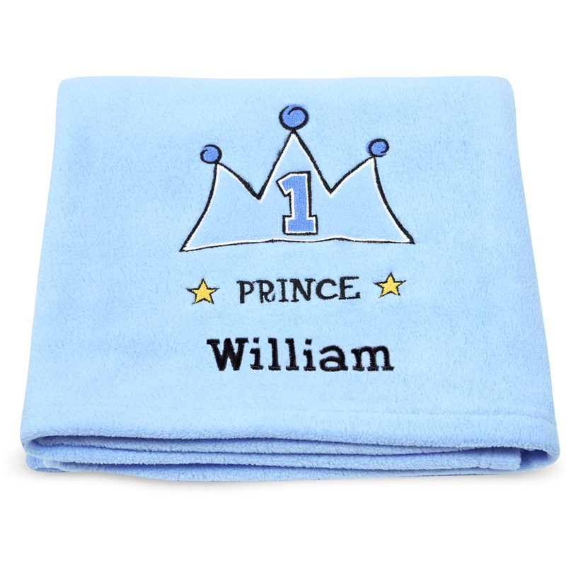 Lil prince applique fleece blanket embroidered