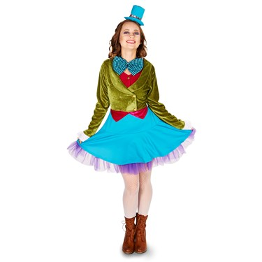 Lime Green & Blue Mad Hatter Plus Adult Costume