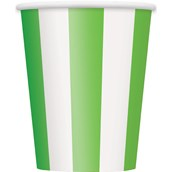 Lime Green Stripe 12 oz. Paper Cups