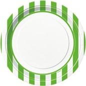 Lime Green Stripe Dinner Plates
