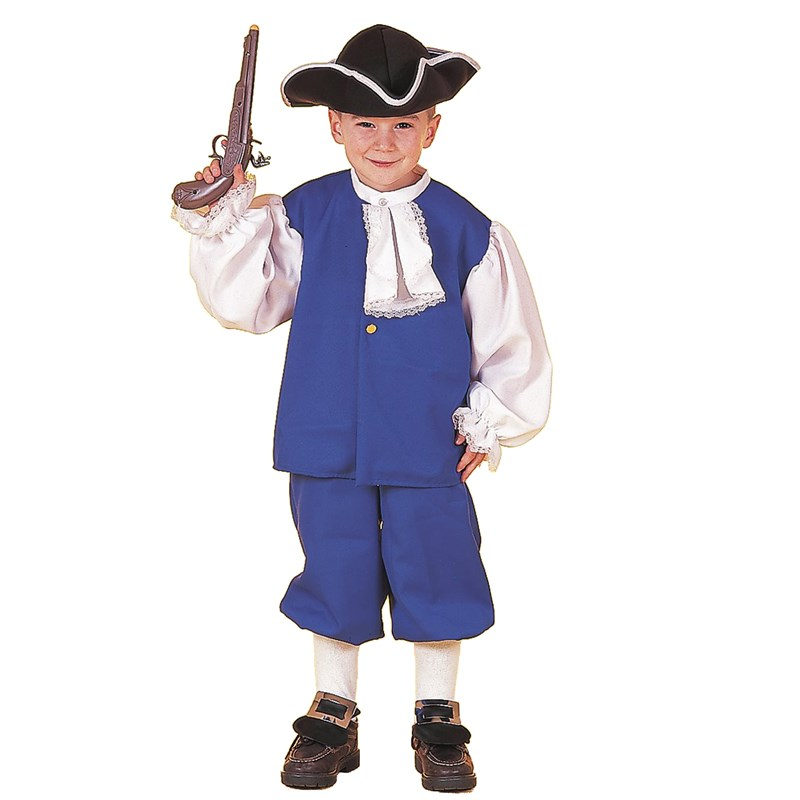 Kids Little Colonial Boy Child Costume- Blue: