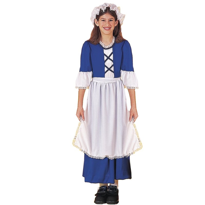 Kids Little Colonial Miss Child Costume- Blue: