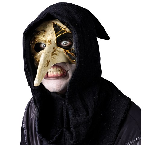 Long-Nosed Gold & White Venetian Adult Mask