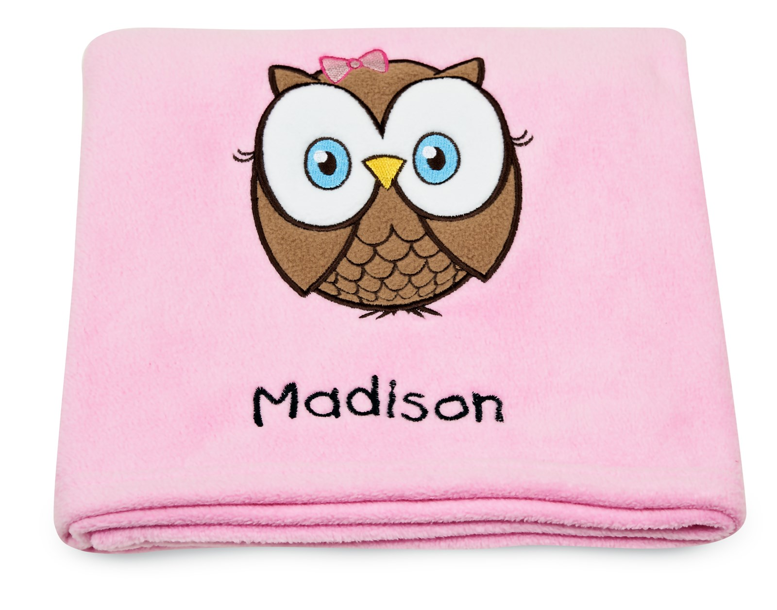 Look who s pink applique fleece blanket embroidered