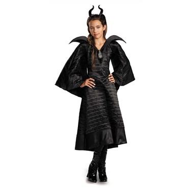 Maleficent Christening Deluxe Black Girls Dress Costume