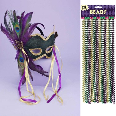 Mardi Gras Mask and Bead Bundle