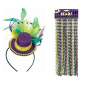 Mardi Gras Mini Hat and Bead Bundle