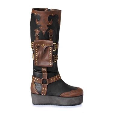Men's 2 inch Heeled Platform Steampunk Black/Brown Boot