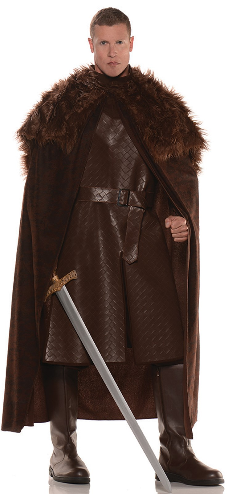 Mens Brown Cape With Fur