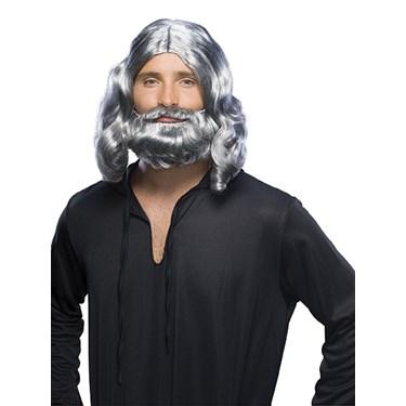 Mens Grey Biblical Wig and Beard Set
