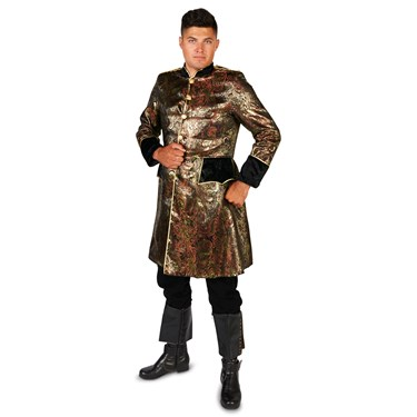 Men's Royal Brocade Renaissance Pirate Coat Adult Costume