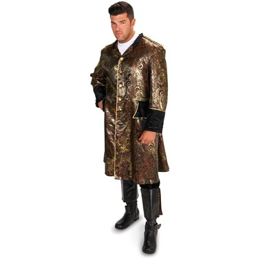 Mens Royal Brocade Renaissance Pirate Coat Adult Plus Costume