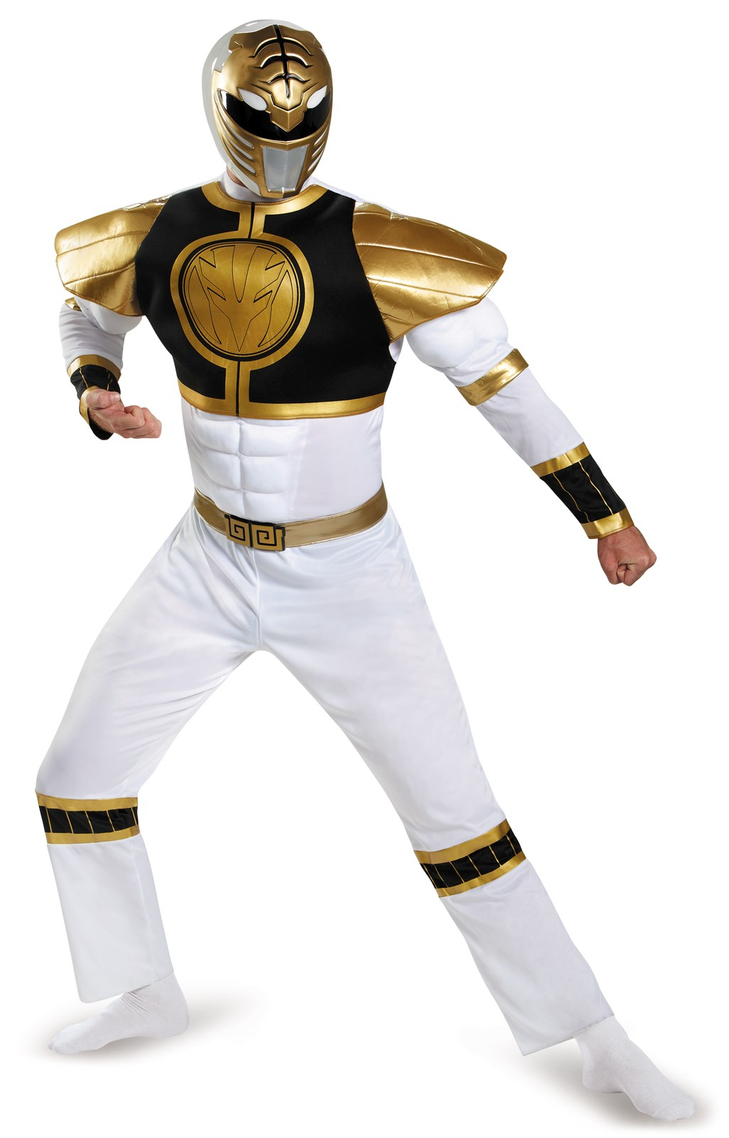 Mighty Morphin Power Rangers: White Ranger Muscle Costume For Adults