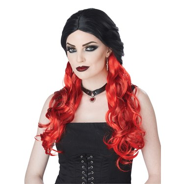 Morbid Mistress Adult Wig- Black/Red