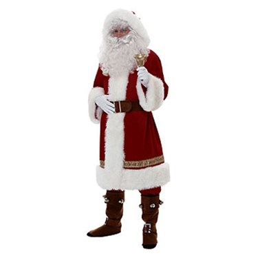 Old Time Santa With Hood Super Deluxe Adult Costume