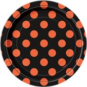 Orange and Black Dot Dessert Plates (8)