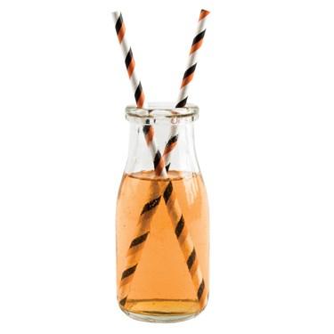 Orange & Black Striped Paper Straws