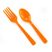 Orange Forks and Spoons (8 each)