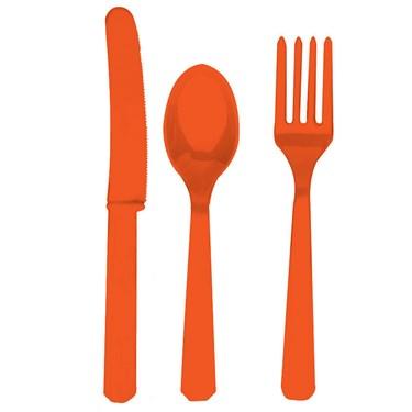 Orange Forks, Knives & Spoons (8 each)