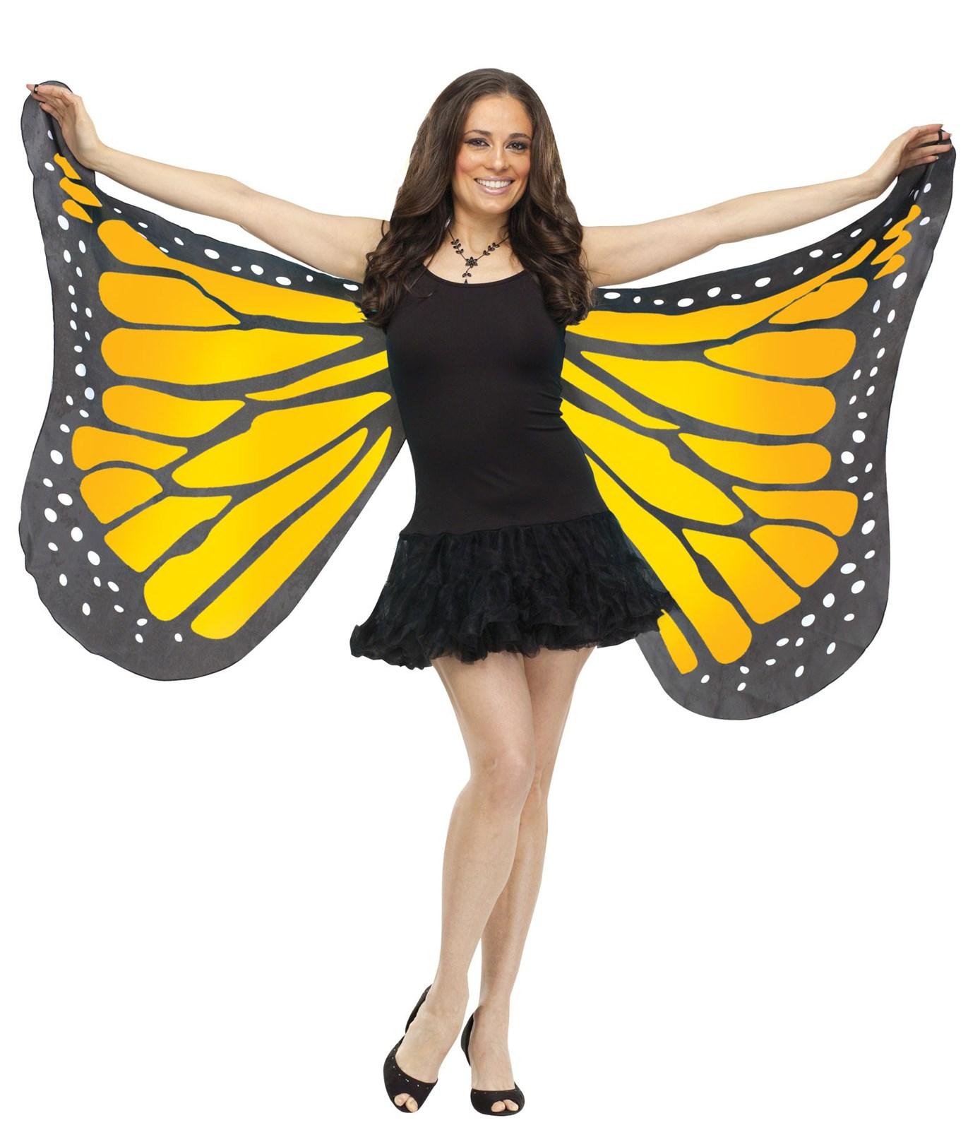 Orange Satin Adult Butterfly Wings