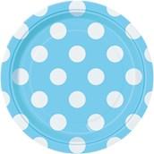 Pastel Blue and White Dot Dessert Plates