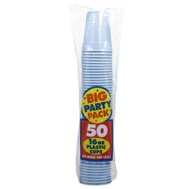 Pastel Blue Big Party Pack - 16 oz. Plastic Cups (50 count)