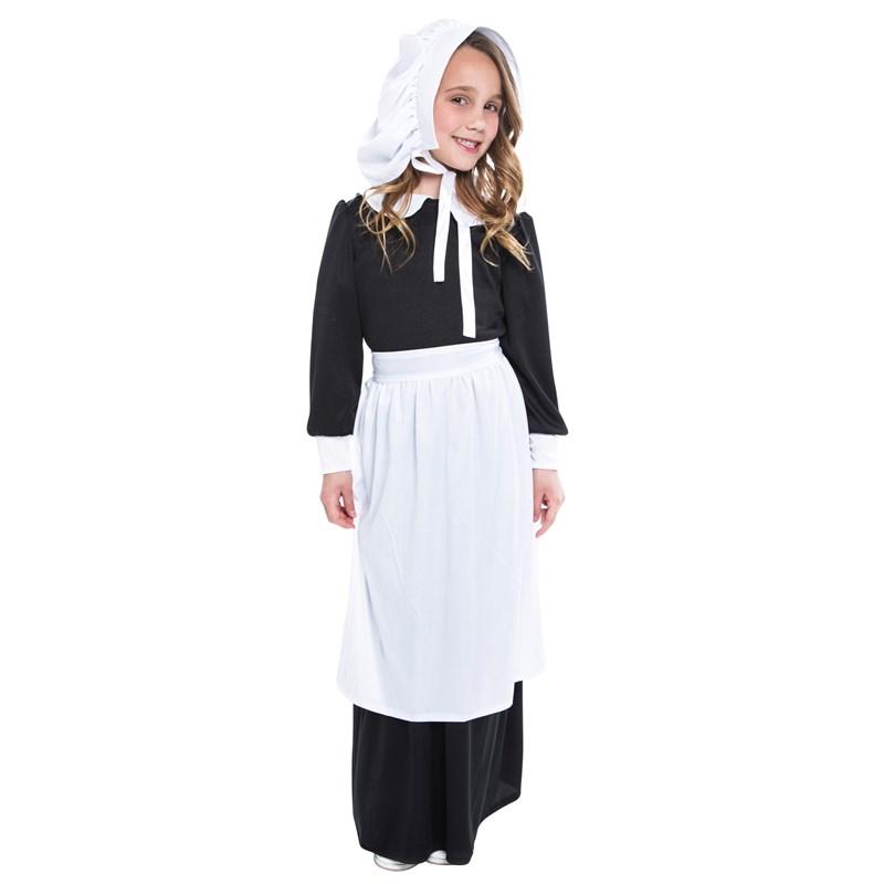 Kids Pilgrim Girl Child Costume- Black/White: