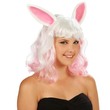 Pink and White Bunny Ears Adult Wig