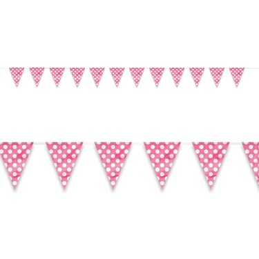 Pink and White Dot Flag Banner