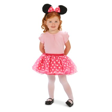 Pink and White Dot Tutu with Mouse Ear Headband Toddler Costume