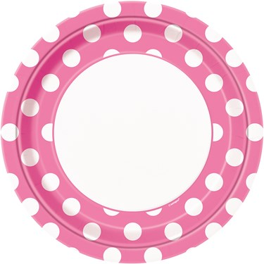 Pink and White Dots Dinner Plates (8)