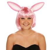 Pink Bunny Ears Adult Wig