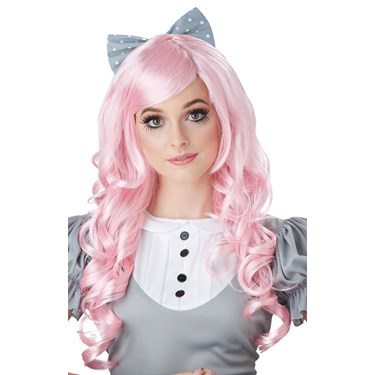 Pink Cosplay Doll Adult Wig w/ Clip on Bow