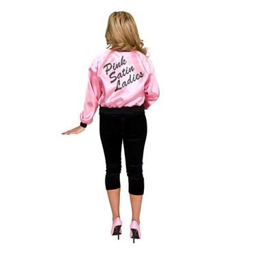 Pink Ladies Printed Satin Jacket Adult Costume