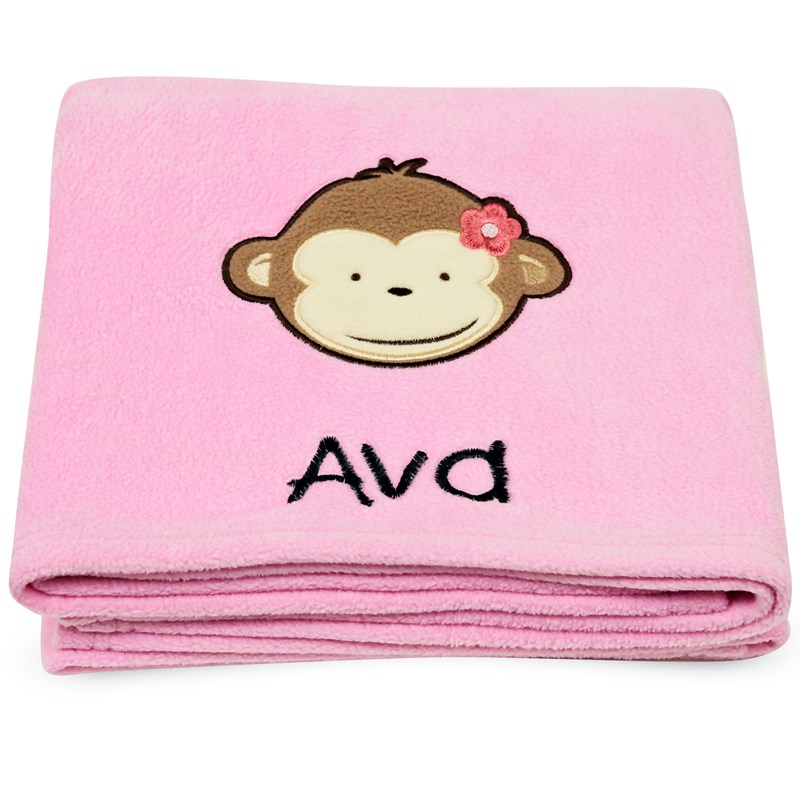 Pink mod monkey applique fleece blanket embroidered