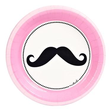 Pink Mustache Dessert Plates (8)