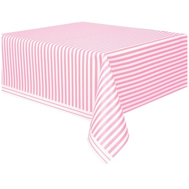 Pink Stripe Plastic Tablecover