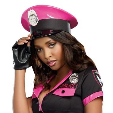 Pink Vinyl Glam Cop Hat