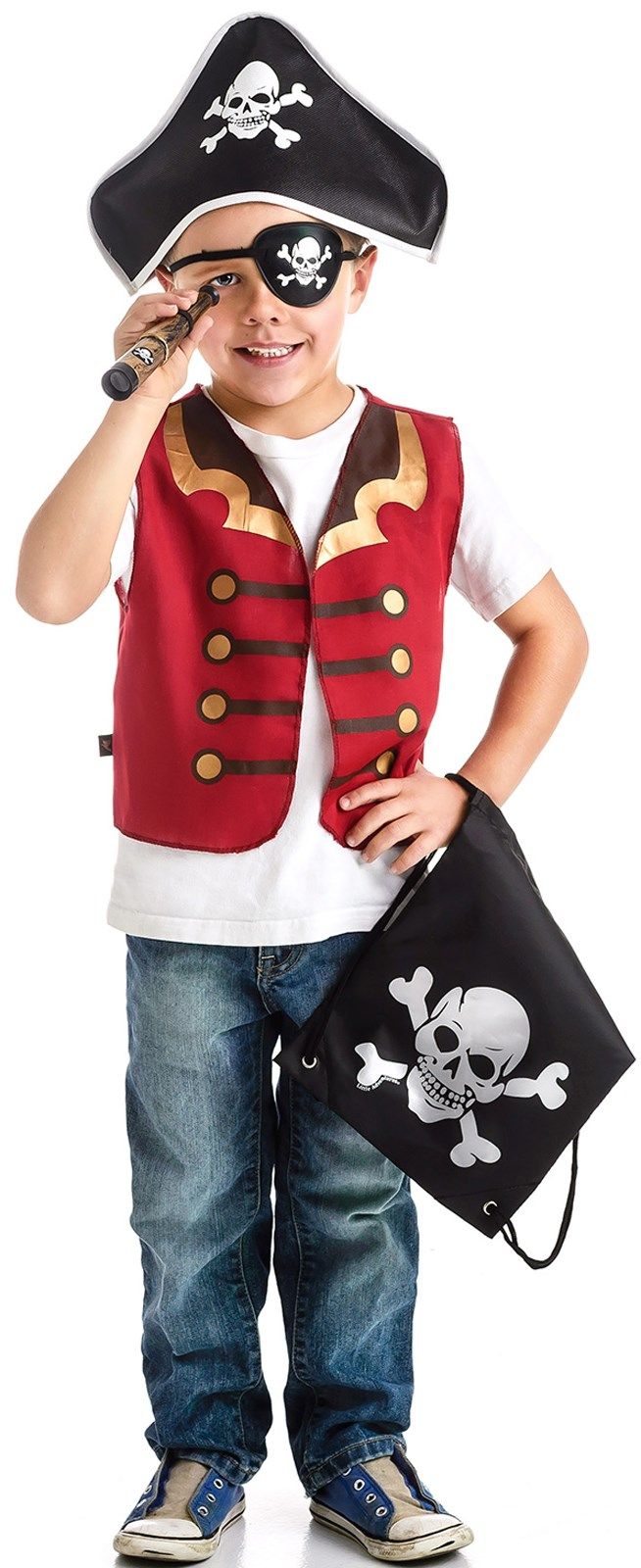 Pirate Drawstring Backpack Dress Up Set For Boys