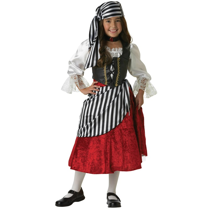 Adult Pirate Girl Elite Collection Child Costume- White/Red: 4