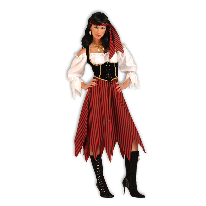 Adult Pirate Maiden Adult Costume- Brown: Standard One Size
