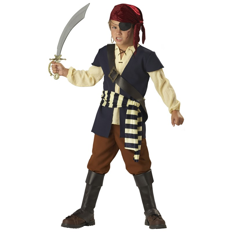 Adult Pirate Mate Child Costume- Blue/Brown: 8