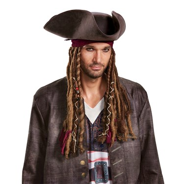 Pirates of the Caribbean 5: Captain Jack Hat Bandana & Dreads - Adult