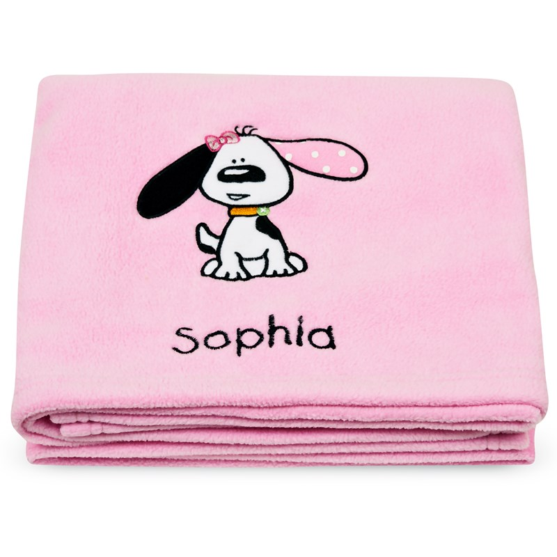 Playful puppy pink applique fleece blanket embroidered