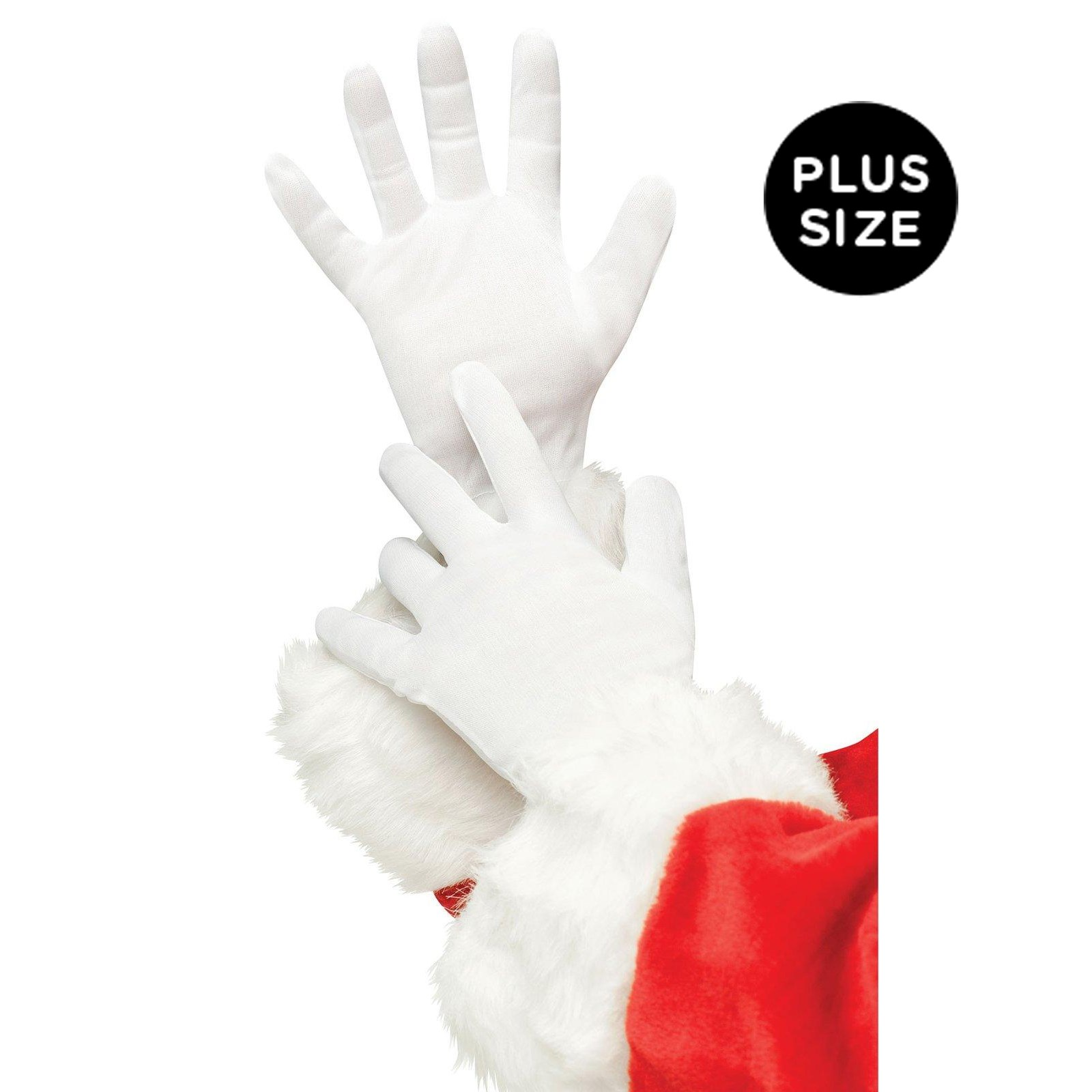Plus Size White Santa Gloves