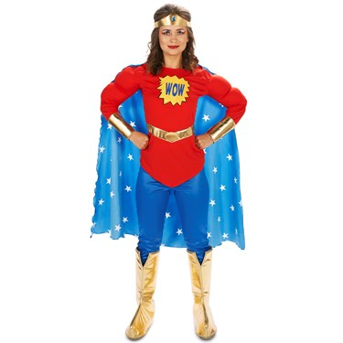 Pop Art Comic Super Woman - WOW with Leggings Adult Costume