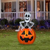 Pop-Up Skeleton in Pumpkin Animated Airblown Lawn Decor